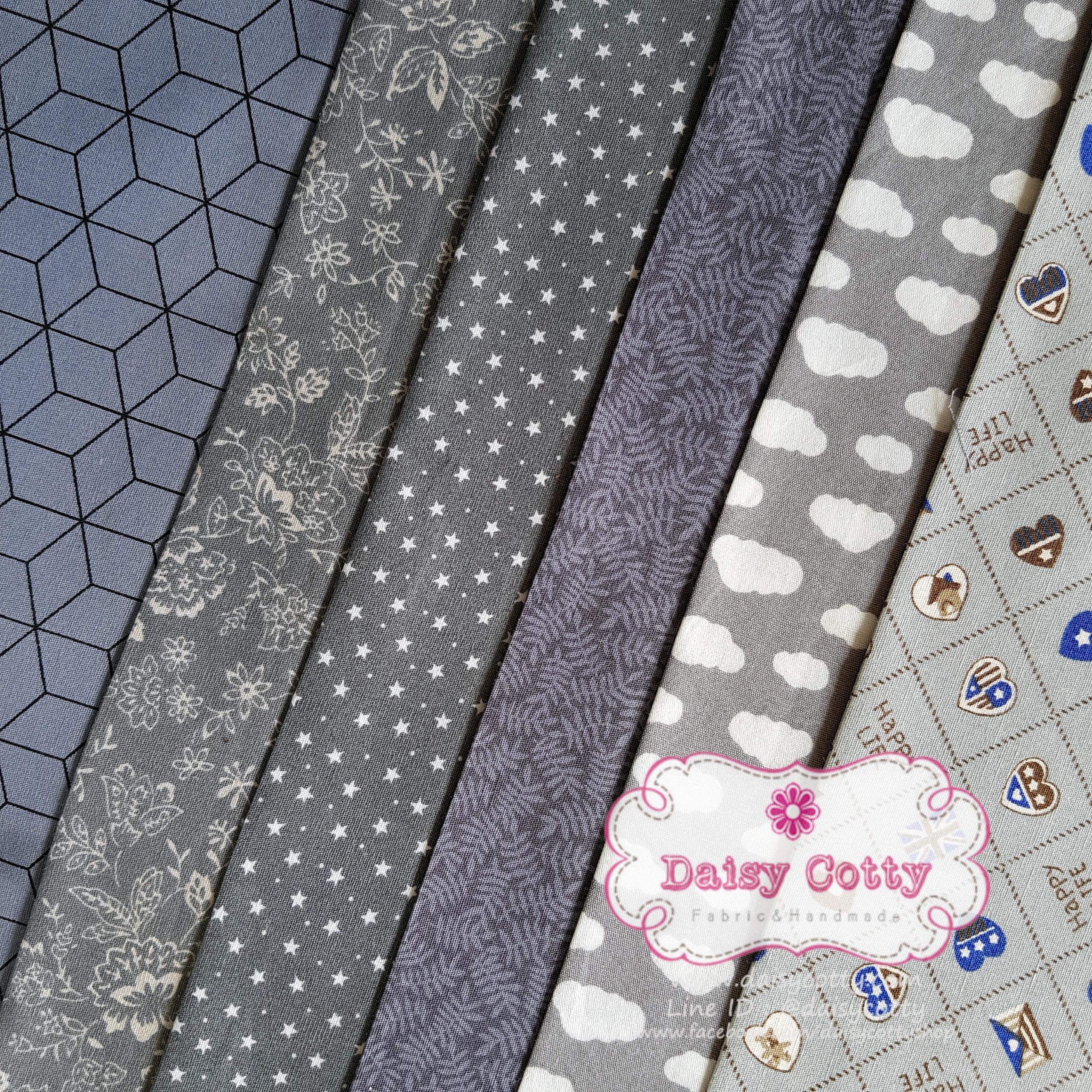 Set 6 ชิ้น : ผ้าคอตตอนไทย 6 ลาย โทนสีเทา แต่ละชิ้นขนาด 50×27.5ซม.