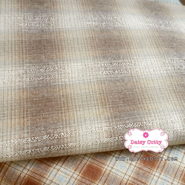 ผ้าทอญี่ปุ่น 1/4ม.(50x55ซม.) ลายตารางไล่สีโทนสีน้ำตาล