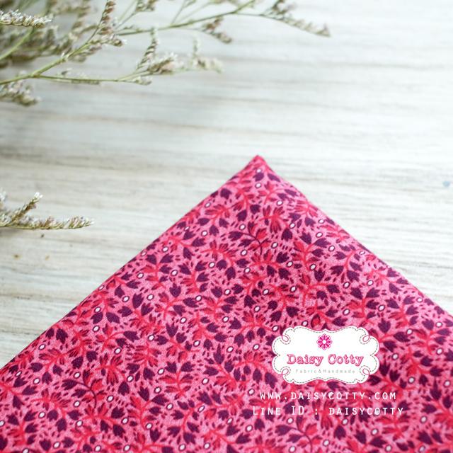 ผ้าคอตตอนไทย 100% 1/4 ม.(50x55ซม.) ลายใบไม้เล็ก โทนสีแดง