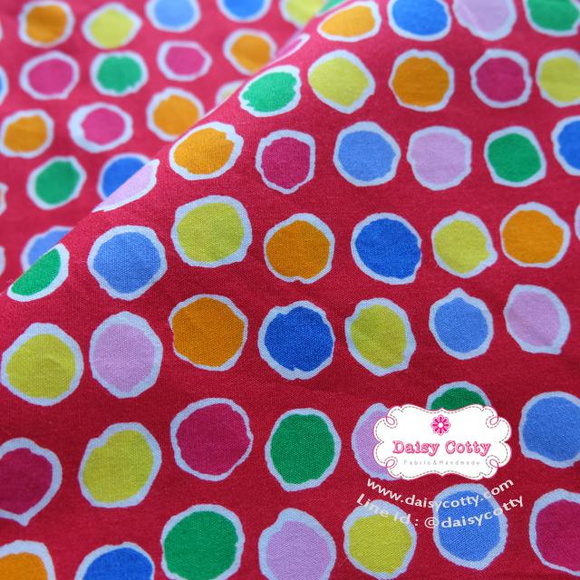 ผ้าคอตตอนไทย 100% 1/4 ม.(50x55ซม.) พื้นสีแดง