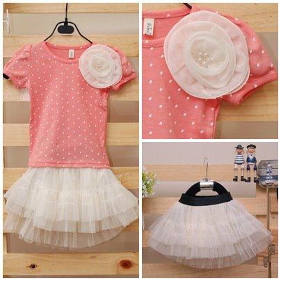 เสื้อยืดสีชมพูลายจุดประดับดอกไม้ขาว [Korea]