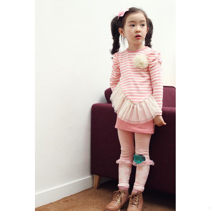 huanshu kids ชุดเดรสแฟชั่นเด็ก สีชมพู-ขาว มีตกแต่งที่อก ระบายที่กระโปรง น่ารักสไตล์เกาหลี