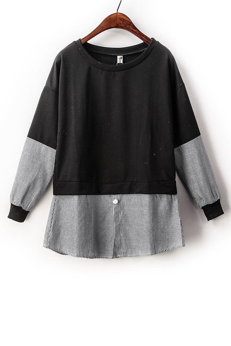 เสื้อผ้าแฟชั่นกระโปรงลายเย็บ2 ตอน แขนยาวสไตล์เกาหลี-ดำ