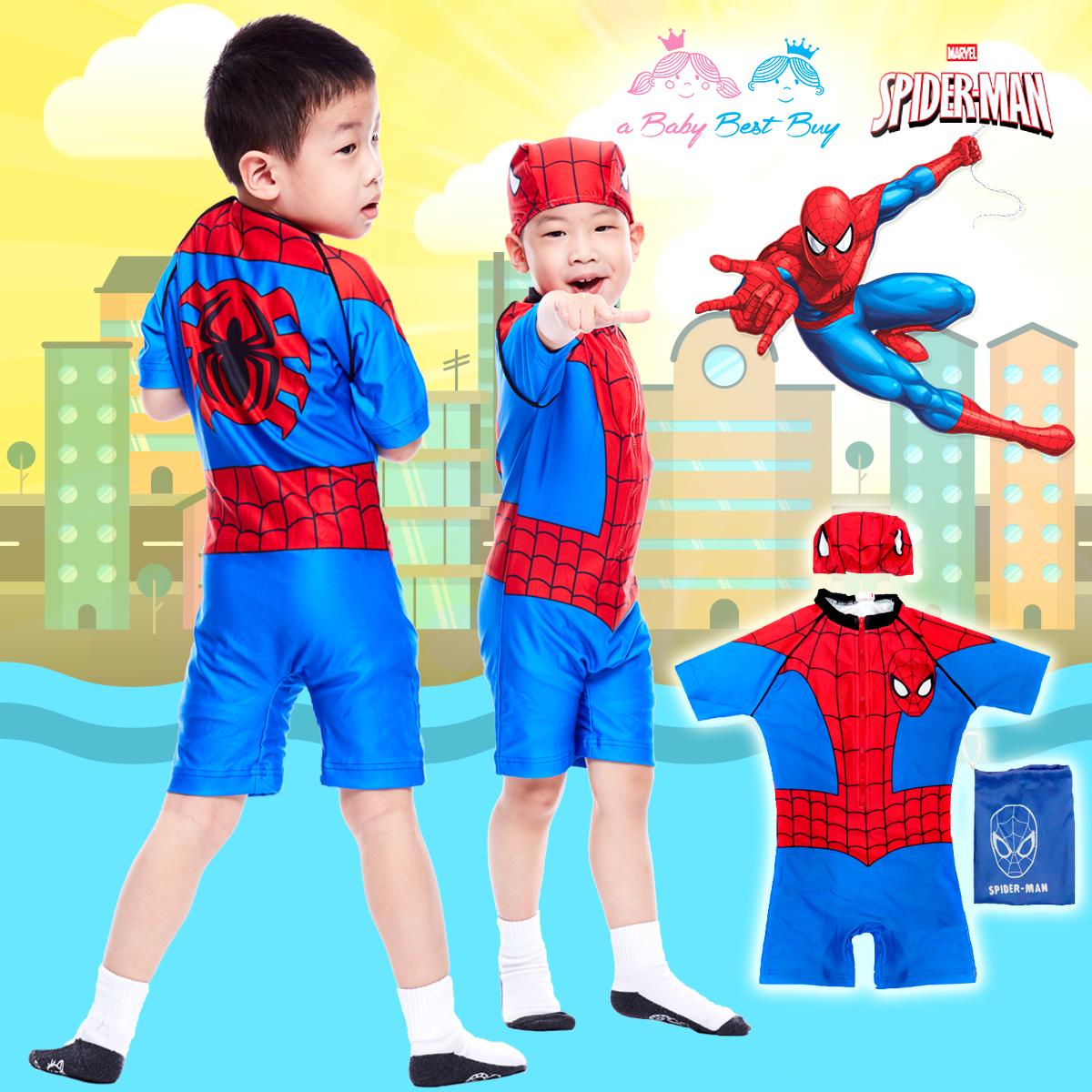( For Kids ) Swimsuit for Boy ชุดว่ายน้ำ เด็กผู้ชาย Spiderman บอดี้สูท กางเกงขาสั้น มาพร้อมหมวกว่ายน้ำและถุงผ้า สุดเท่ห์ ใส่สบาย ลิขสิทธิ์แท้