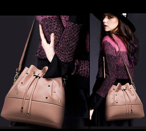 Pre-order กระเป๋าสะพายผู้หญิง Jinfenshijia กระเป๋าสไตล์ยุโรปอเมริกัน หนัง PU สีชมพู