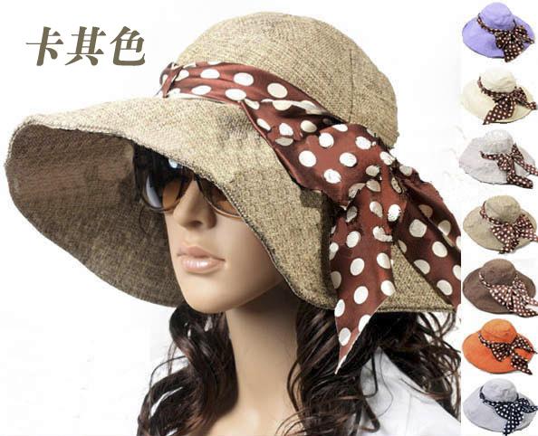 Pre-order หมวกแฟชั่น หมวกปีกกว้าง หมวกฤดูร้อน กันแดด ผ้าลินิน ผูกโบว์ลายจุด สีกาแฟ