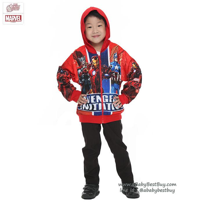 """""""( S-M-L-XL ) เสื้อแจ็คเก็ต เสื้อกันหนาว เด็กผู้ชาย สกรีนลาย The Avengers สีแดง รูดซิป มีหมวก(ฮู้ด) ใส่คลุมกันหนาว กันแดด สุดเท่ห์ ใส่สบาย ลิขสิทธิ์แท้ (ไซส์ S-M-L-XL )"""