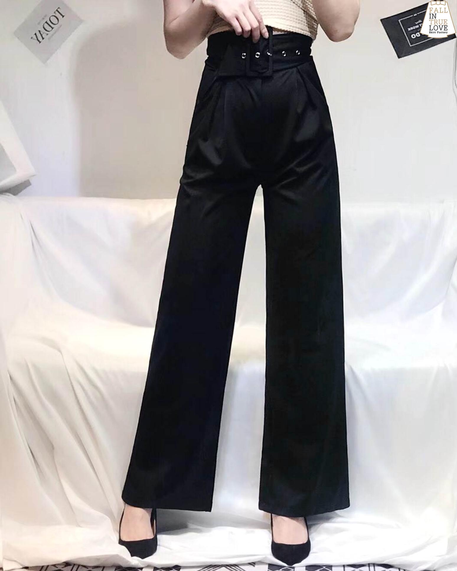 กางเกงแฟชั่น กางเกงผ้ายืดขาบานเอวสูง + สายเข็มขัดใหญ่หัวเหลี่ยม (แยกชิ้นกับตัวกางเกง)