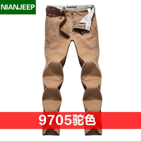 Pre-order กางเกงขายาว กางเกงธุรกิจ แฟชั่นสไตล์อเมริกันคลาสสิก หนุ่มมาดเท่ ขาลุย สีคาเมล NIAN Jeep