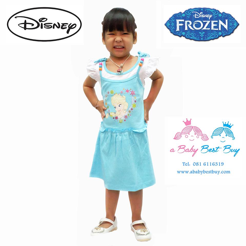 z ชุดเดรสสั้น ลายเอลซ่า แขนกุด สีฟ้า ดิสนีย์แท้ ลิขสิทธิ์แท้ (สำหรับเด็ก1-2-3 ปี)