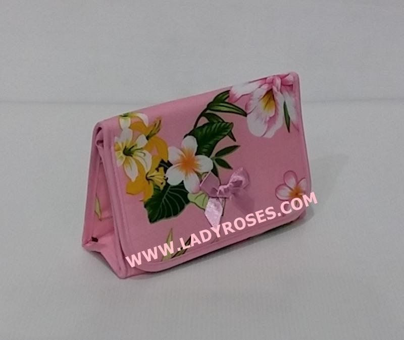 กระเป๋าเครื่องสำอางค์ นารายา Summer ผ้าคอตตอน สีชมพู ลายดอกไม้ มีกระจกในตัว Size L (กระเป๋านารายา กระเป๋าผ้า NaRaYa)