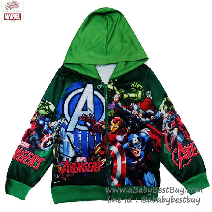 """""""( S-M-L-XL ) เสื้อแจ็คเก็ต เสื้อกันหนาว เด็กผู้ชาย สกรีนลาย Super Hero - The Avengers สีเขียว รูดซิป มีหมวก(ฮู้ด)ใส่คลุมกันหนาว กันแดด สุดเท่ห์ ใส่สบาย ลิขสิทธิ์แท้ (ไซส์ S-M-L-XL )"""
