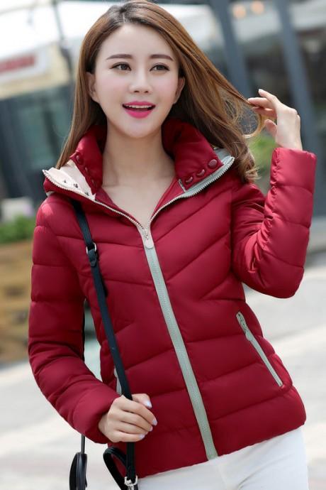 Pre-Order เสื้อโค้ทผู้หญิงแฟชั่น สีแดง มีฮู๊ด แขนจั๊ม แฟชั่นเกาหลี