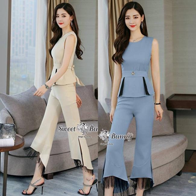 ชุดเซทแฟชั่น ชุดเซ็ทเสื้อ+กางเกงเกาหลี ใช้ผ้าพื้นเนื้อนุ่มมีน้ำหนัก