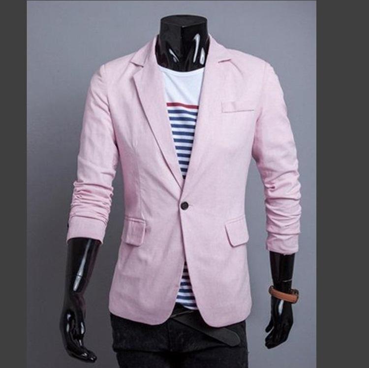 Pre-Order เสื้อสูท สูทลำลอง สูทบาง สูทเบลเซอร์ลำลอง แขนยาว ผ้าฝ้ายผสม สีชมพู