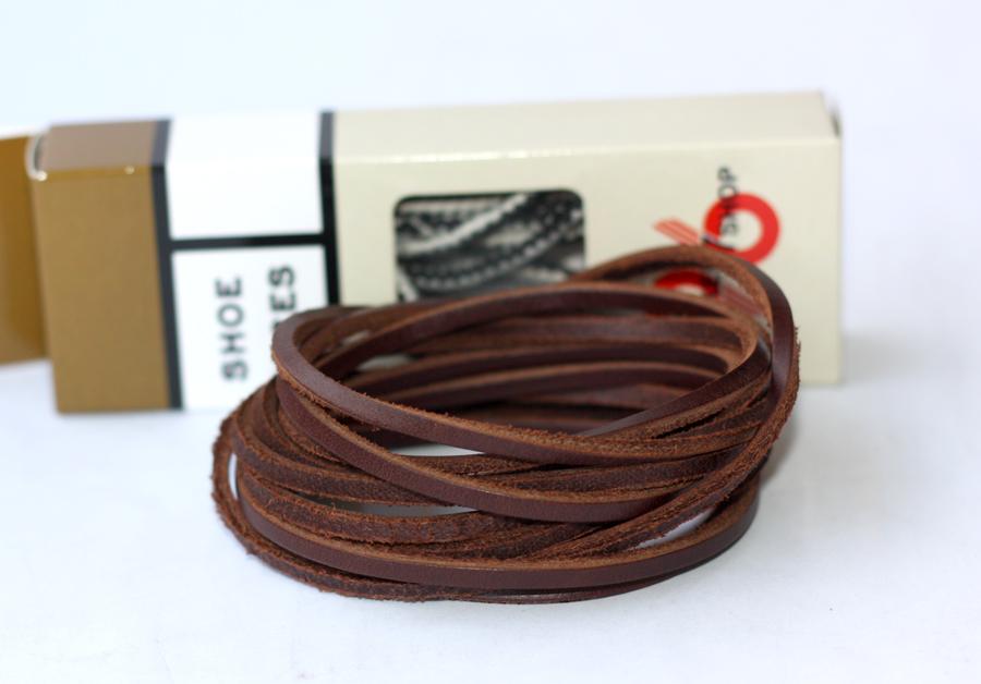 สายหนังร้อยรองเท้า น้ำตาลเข้ม เหมาะสำหรับ Redwing Timberland Dr.martens อื่นๆ หนา 3 mm. ยาว 110 CM (2 เส้น)