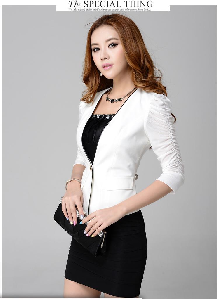 Pre-Order ชุดสูทแฟชั่นผู้หญิง เสื้อสีขาว แบบบาง ซับในครึ่งตัว แขนสามส่วน แต่งแขนด้วยผ้าโปรง +กระโปรงสอบ +เสื้อซับใน