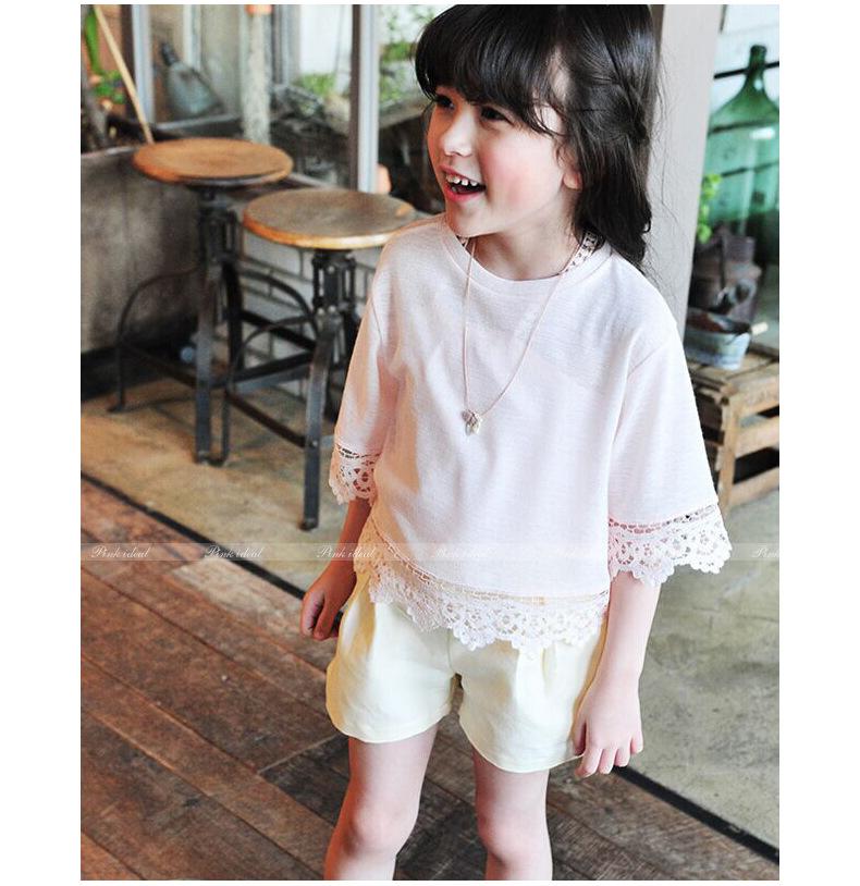 เสื้อเด็กหญิงสีขชมพู ชายลูกไม้