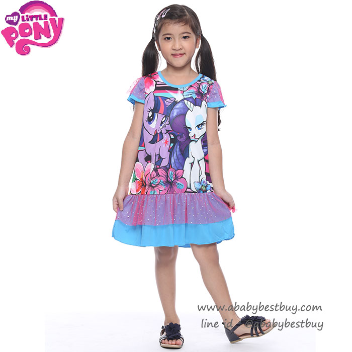 (4-6-8-10 ปี) ชุดเดรส My Little Pony สีม่วง แขนตุ๊กตา ลิขสิทธิ์ฮาสโบแท้ โพนี่แท้ (สำหรับเด็ก4-6-8-10 ปี)