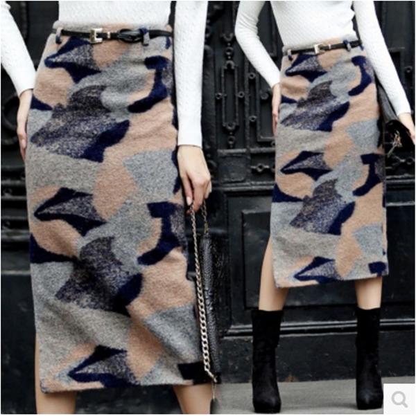 Pre-Order กระโปรงเอวสูงผ้าขนสัตว์พิมพ์ลาย เนื้อผ้าหนาสำหรับฤดูหนาว