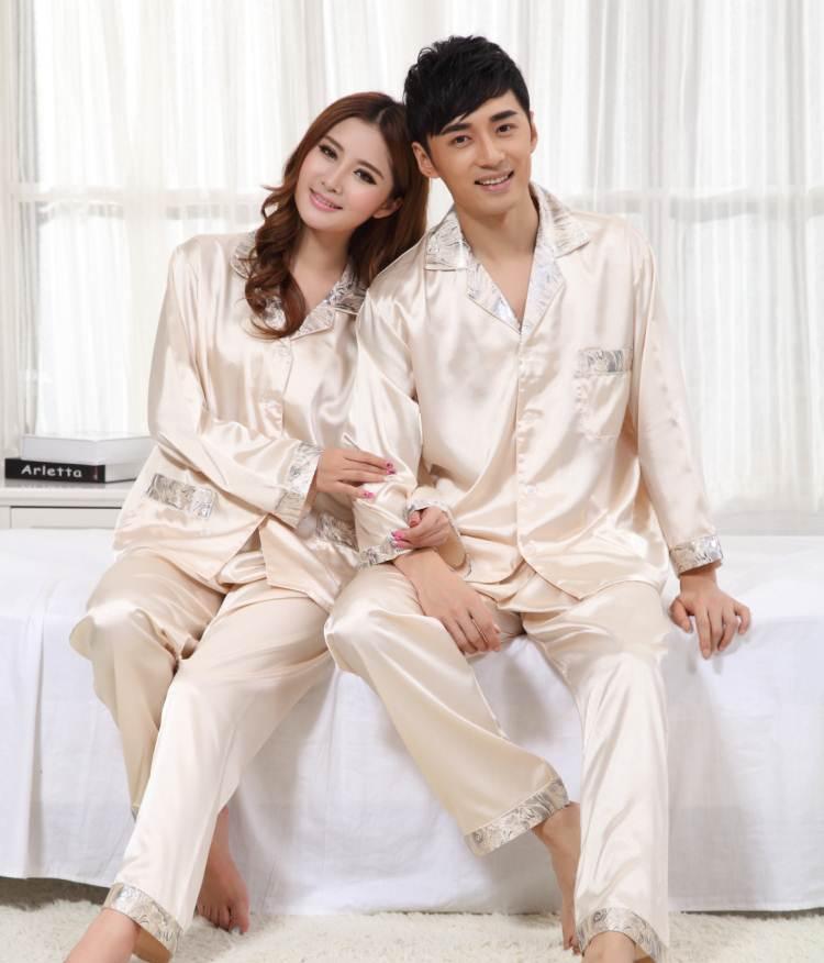 Pre Order ชุดนอนคู่รักเทรนด์เกาหลี เสื้อเชิ้ตผ้าไหมแขนยาวคอปก+กางเกงขายาว มี2สี
