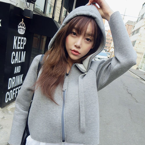 ++สินค้าพร้อมส่งค่ะ++ Jacket เกาหลี แขนยาว มี hood ผ้า cotton space เนื้อดี ดีไซด์สไตล์ Dongguk – สีเทา