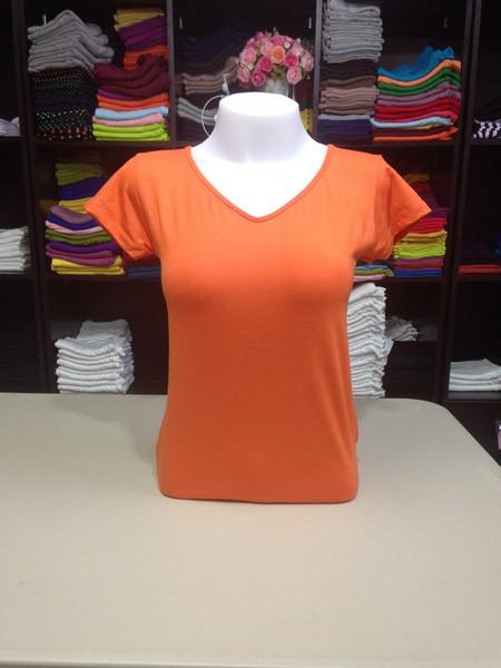 """เสื้อยืดคอวี สีส้มสด size """"M"""""""