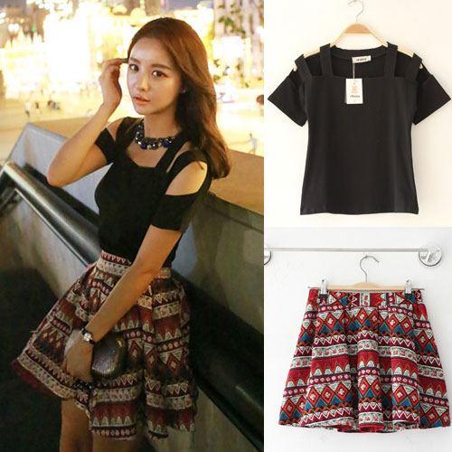 Daba-Girl ++สินค้าพร้อมส่งค่ะ++ ชุดแฟชั่นเซ็ทเกาหลี เสื้อแขนสั้น โชว์ไหล่คู่+กระโปรงสั้น ผ้าฝ้ายทอลายน่ารักเนื้อดีมากค่ะ – สีดำ