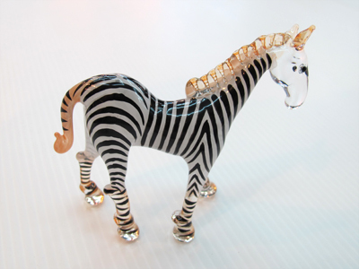 ม้าลายแก้วเป่า Glass Figurine Zebra