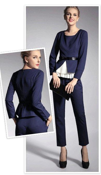 PreOrderไซส์ใหญ่ - เซตคู่แฟชั่น ไซส์ใหญ่ คนอ้วน เสื้อแฟชั่น+กางเกงขายาว เข้าชุด เรียบ หรู ใส่ทำงานเก๋ ๆ สีน้ำเงิน