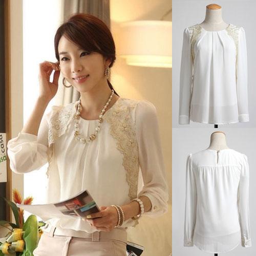 ++สินค้าพร้อมส่งค่ะ++เสื้อแฟชั่นเกาหลี คอกลม แขนยาว ผ้าชีฟองเนื้อดี แต่งลูกไม้ช่วงคอ ด้านหน้าจับจีบเก๋ – สีขาว