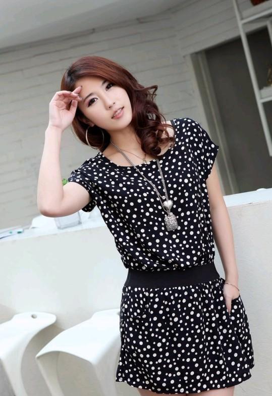 ++เสื้อผ้าไซส์ใหญ่++* Pre-Order* ชุดเดรสเกาหลีไซส์ใหญ่แขนสั้นผ้า spandex สีดำลายจุดขาวติดยางยืดช่วงเอวสีดำมีกระเป๋า 2 ข้างที่กระโปรง