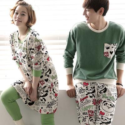 Pre Order ชุดนอนคู่รักเกาหลี เสื้อคอกลมแขนยาว พิมพ์ลายหมีแพนด้า+กางเกงขายาว