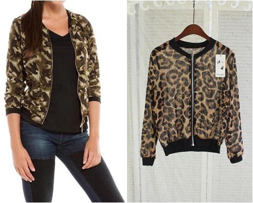 ++สินค้าพร้อมส่งค่ะ++ jacket เกาหลี คอกลม แขนยาว ผ้าชีฟองเนื้อบางพิมพ์ลายเก๋ ซิบด้านหน้า – สี Leopard