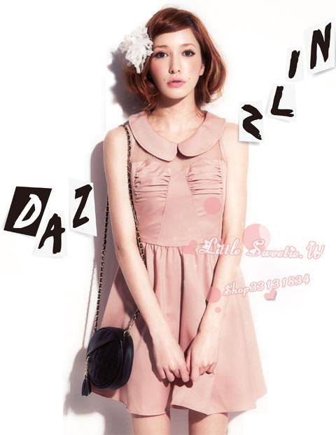 ++เสื้อผ้าเกาหลี++ cherry koko*พร้อมส่ง*ชุดเดรสั้น เดรสเกาหลี เดรสแฟชั่น ผ้าชีฟองสีชมพูตัดต่อผ้าตาข่ายช่วงอก มีซิปหลัง ซับในผ้าติน