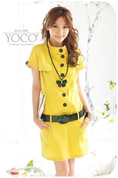++สินค้าพร้อมส่งค่ะ++ เดรส คอตั้ง ผ้า COTTON แต่งกระเป๋าที่เอว กระดุมหน้า + เข็มขัด - สีสีเหลือง