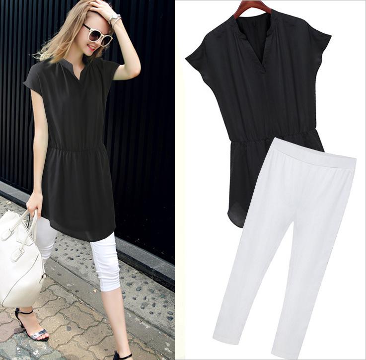 PreOrderคนอ้วน - เซตคู่แฟชั่น เสื้อ-กางเกงสามส่วน (2 ชิ้น) เสื้อตัวยาวสีดำคอวีแขนสั้นจั้มเอว ผ้าชีฟอง พร้อมกางเกงขาสามส่วนสีขาว