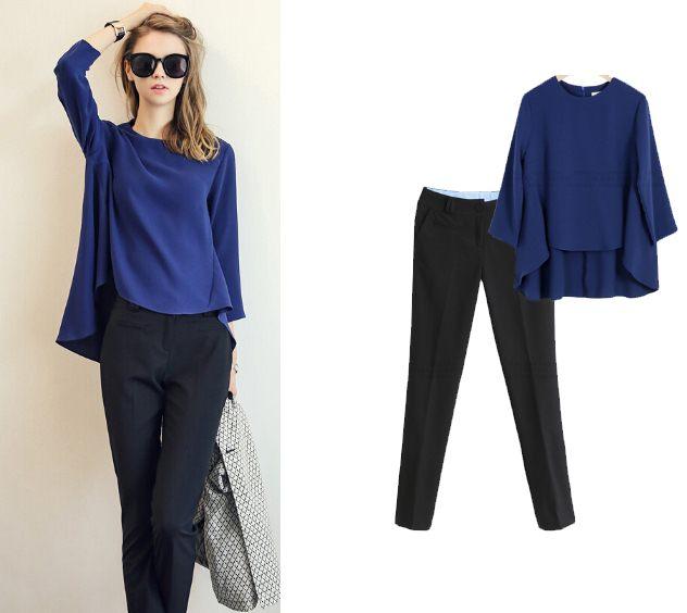 PreOrderไซส์ใหญ่ - เซตคู่เสื้อกางเกงแฟชั่น ไซส์ใหญ่ คนอ้วน เสื้อแขนยาวดีไซส์น่ารักสีน้ำเงิน กางเกงขายาวสบาย ๆ สีดำ