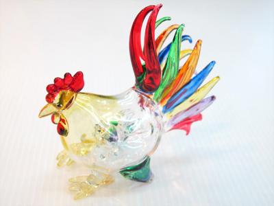 ไก่แจ้แก้วเป่า 2 in 1 Glass Figurine Rooster 2 in 1
