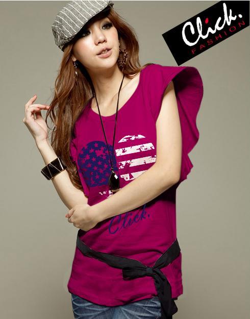 เสื้อยืดแฟชั่น แขนปีกนก ลาย Heart Flag สีชมพูบานเย็น