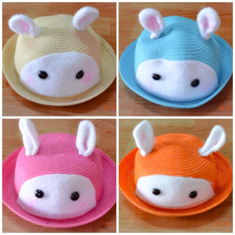 Y001-2**พร้อมส่ง** (ปลีก+ส่ง) หมวก สาน เด็ก ลายกระต่าย แฟชั่นเกาหหลี งานนำเข้า(Made in China)