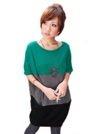 เสื้อยืดแฟชั่น ตัวยาว ลาย Three Color สีเขียวเทาดำ