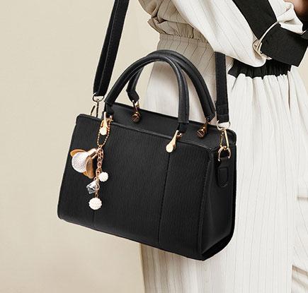 Pre-order ขายส่งกระเป๋าถือสตรี และสะพายข้าง ใบเล็ก แฟชั่นเกาหลี KO-293 สีดำ