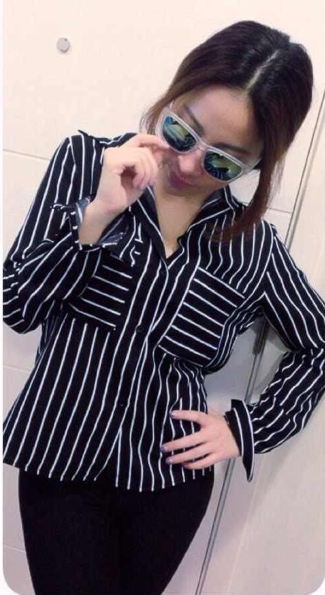 เสื้อแฟชั่น สุด Chic เสื้อเชิ้ต แขนยาว ลายทาง รหัส SU9014_1