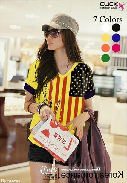 เสื้อยืดแฟชั่น คอวี แขนเบิ้ล ลาย US V Flag สีเหลือง (Size M: รอบอก 36 นิ้ว)
