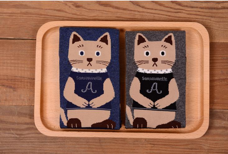 [เซต2คู่] ลายใหม่ถุงเท้าลายแมวนั่งสมาธิ เก๋ๆ เซตคู่สีเทาและกรมท่า