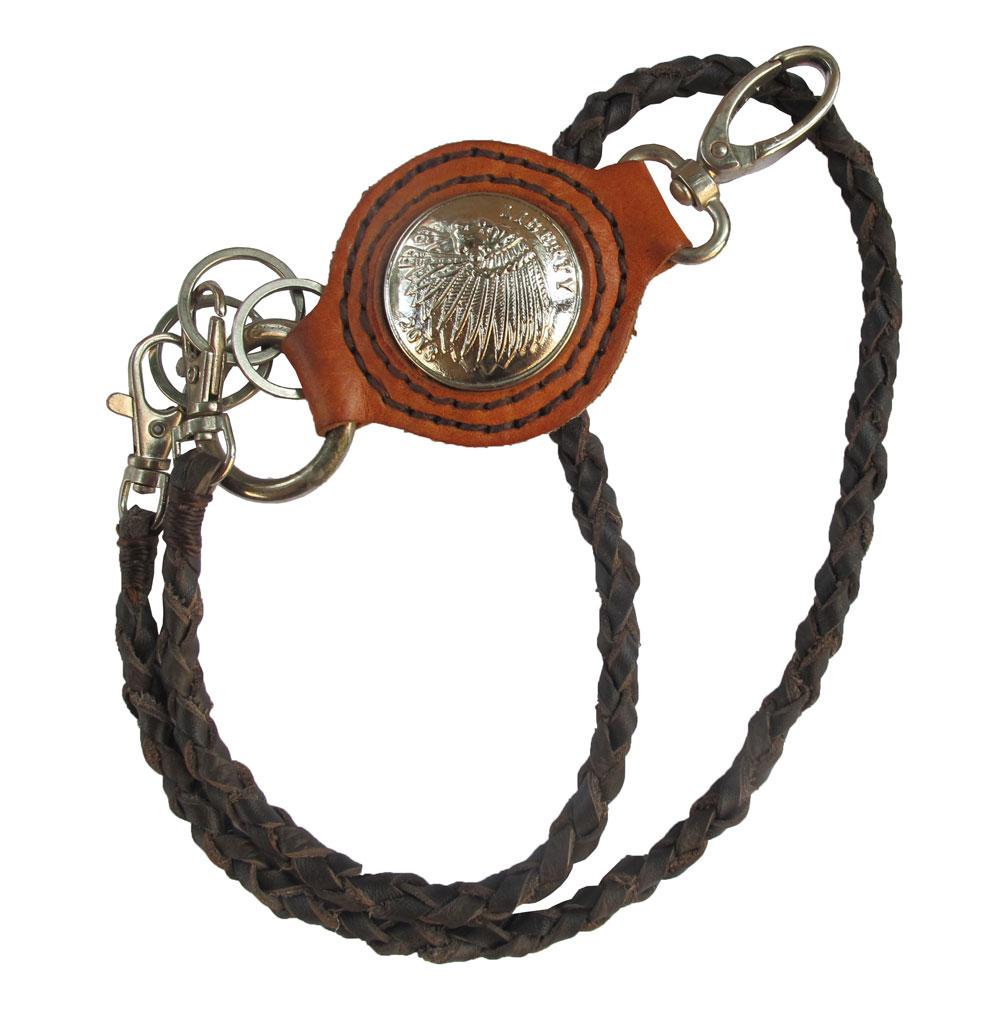 เชือกหนังถัก หนังวัวแท้ สำหรับ คล้องเข้ากับกระเป๋า และหูกางเกง + พวงกุญแจ