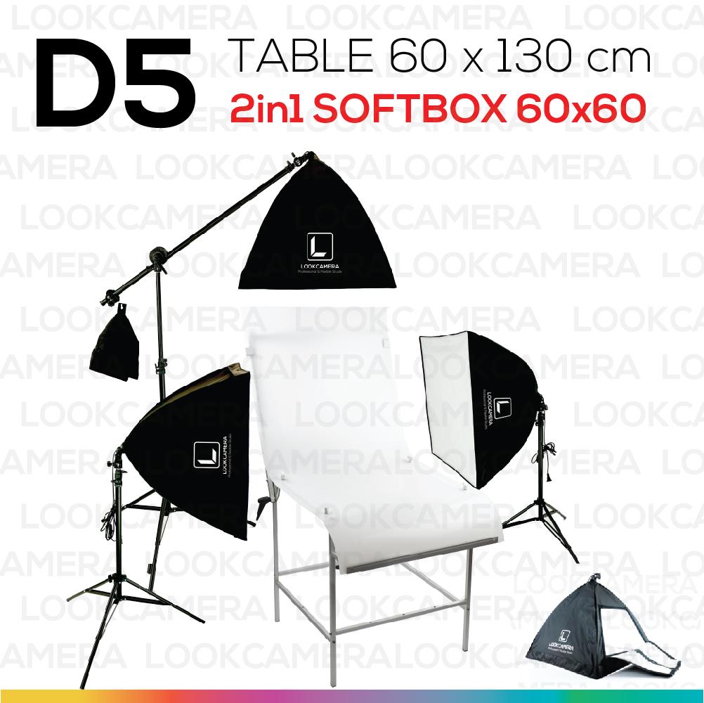 D5 โต๊ะถ่ายภาพสินค้าแบบปรับองศาได้ 60x130 + SOFTBOX 6060