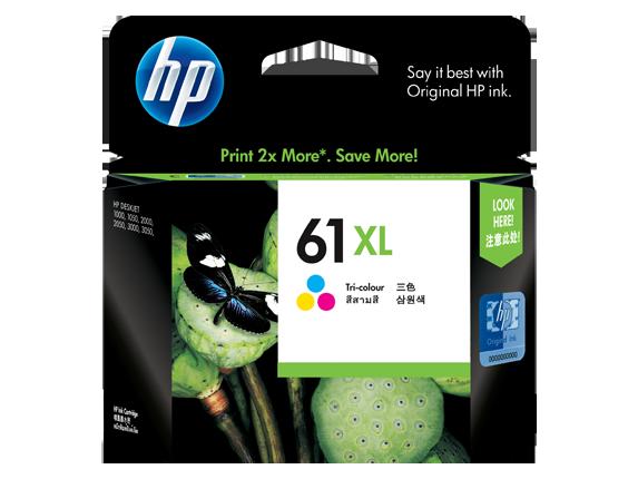 HP 61XL ตลับหมึกอิงค์เจ็ท 3สี High Yield Tri-color Original Ink Cartridge (CH564WA)