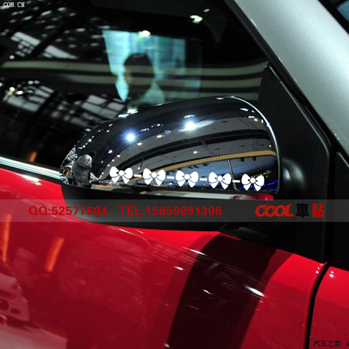 สติ๊กเกอร์ติดกระจกมองข้างรถ Kitty โบว์ขาว (1Pack/2ชิ้น)